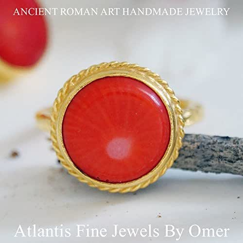 Amazon.com: RED CORAL RING 925K STERLING SILVER 24K GOLD