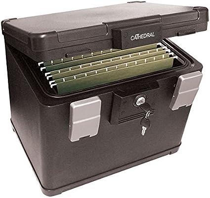 Cathedral - Caja archivadora de seguridad, tamaño A4, ignífuga/impermeable, caja fuerte para documentos/escrituras, gran capacidad de almacenamiento, para armarios/hogar: Amazon.es: Oficina y papelería