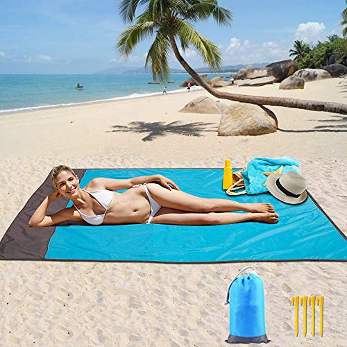 Beach Mat,Beach Blanket Sand Proof & Compact Pocket Blanket Soft Drying Ripstop Nylon Beach Mat for Outdoor, Waterproof Picnic Mat for Travel, Hiking, Camping, Music Festivals(82