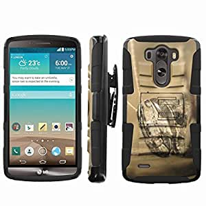 [ArmorXtreme] Rugged Hybrid Combat Armor Dual Layer Design Image Case With Kickstand Belt Holster Case (Grass Hopper) for LG G3