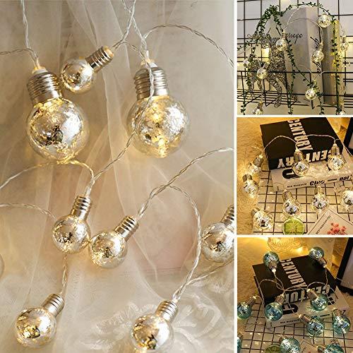 LED Fairy String Lights, LED Ball String Lights, Indoor Outdoor Xmas Lights Globe Fairy String Lights Starry Lights, for Garden, Home, Wedding 1.5/2/3/5m(3m 20 Bulbs,Warm White Light+Silver Bulbs) by Onner (Image #7)