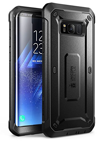 SupCase Full-Body Rugged Holster Case for Samsung Galaxy S8, with Built-in Screen Protector for Galaxy S8 (2017 Release), Not Fit Galaxy S8 Plus, Unicorn Beetle Shield Series - Retail Package (Black) (Best Case For Samsung Galaxy S8)