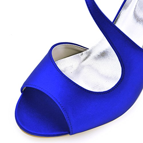 ElegantPark HP1565 Women's Peep Toe High Heels Ankle Strap Buckle Satin Wedding Evening Dress Sandals Royal Blue US 8
