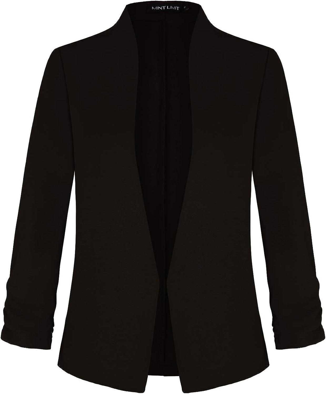 Women Open Front Blazers 3/4 Ruched Sleeve Collarless Work Office Blazer Jacket