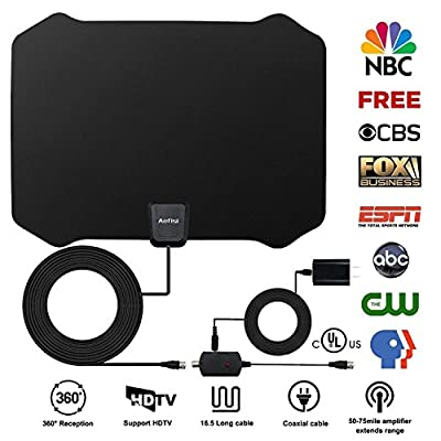 HDTV Antenna, Indoor Amplified TV Antenna 50 to 75 Mile Range with Creative Adjustable Amplifier Detachable Booster, USB Power Supply and 16.5FT High Performance Coaxial Cable Black Antenna By Aktoog