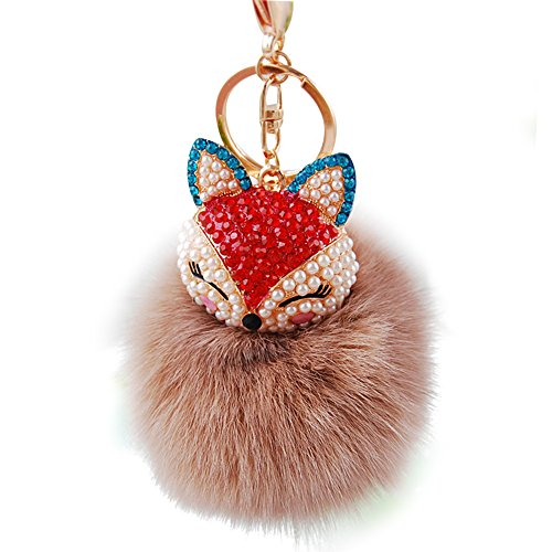 Real Fox Fur Ball with Artificial Fox Head Inlay Pearl Rhinestone Key Chain for Womens Bag or Cellphone or Car Pendant (03)