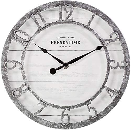 PresenTime Co 10″ Farmhouse Series Wall Clock