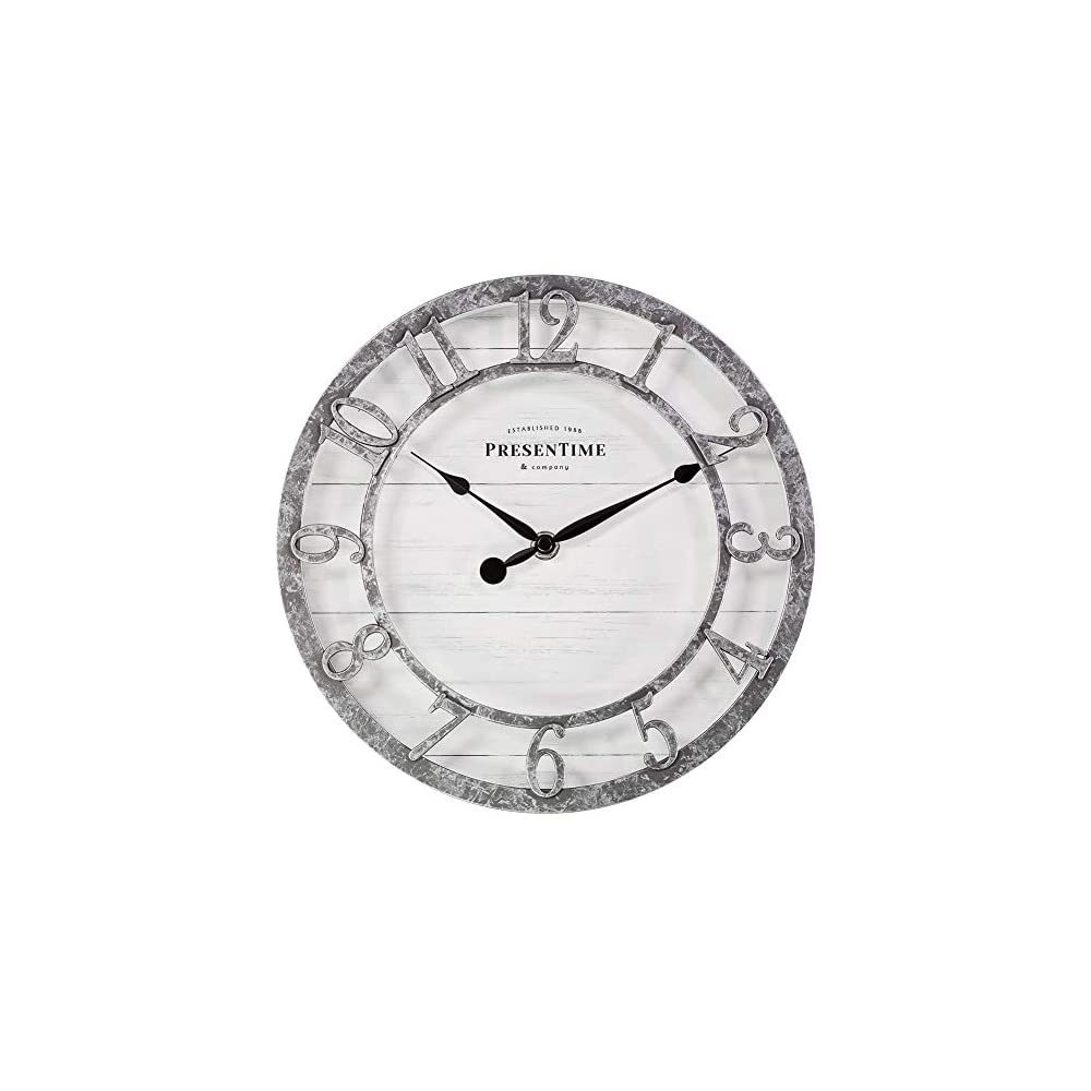 "PresenTime & Co 10"" Farmhouse Series Wall Clock, Quartz Movement, Shiplap Style, Raised 3D Arabic Numeral, Galvanized Finish"