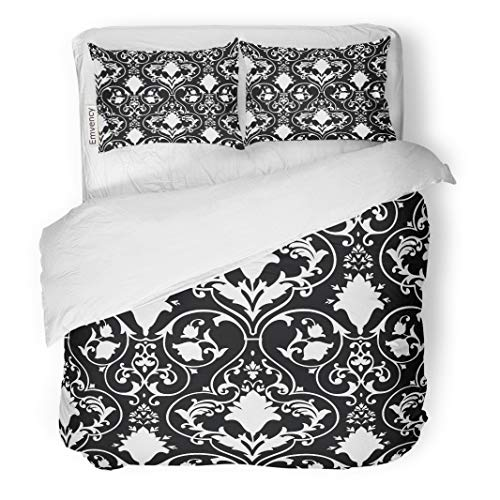 Semtomn Decor Duvet Cover Set Twin Size Fleur Antique Scroll Lis Black White Damask Pattern Abstract 3 Piece Brushed Microfiber Fabric Print Bedding Set Cover