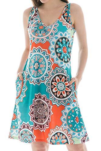 Floral Dresses for Women, Pockets Casual Swing Stretchy Cotton Wrap T-Shirt Short Dresses Round Flower Aqua 2XL