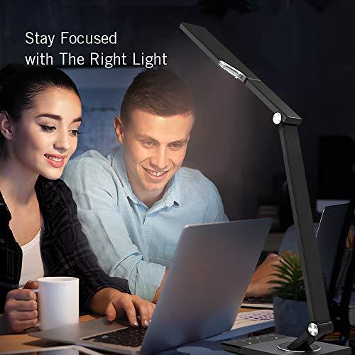 TaoTronics TT-DL16 Stylish Metal LED Desk Lamp, Office 5V/2A USB Port, 5 Color Modes, 6 Brightness Levels, Touch Control, Timer, Night Light, Official Member of Philips Enabled Licensing Program