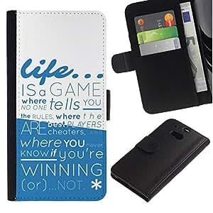 All Phone Most Case / Oferta Especial Cáscara Funda de cuero Monedero Cubierta de proteccion Caso / Wallet Case for HTC One M8 // Life is a Game