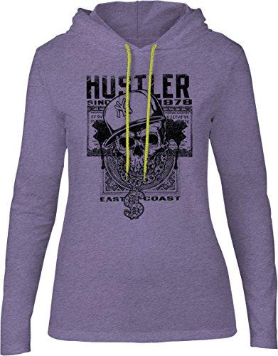Big Texas East Coast Hustler Skull (Black) Womens Fine Jersey Hooded T-Shirt, Purple Marle, XL