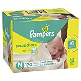 Pampers Swaddlers Disposable Diapers Size N, 120 Count