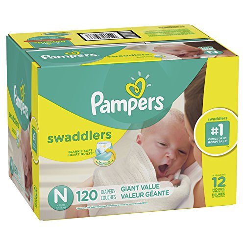 Diapers Size N, 120 Count - Pampers Swaddlers Disposable Baby Diapers, Giant