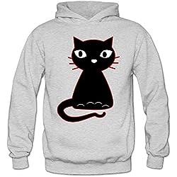 XJBD Women's Fancy Cat Cool Hoodies Ash Size XL