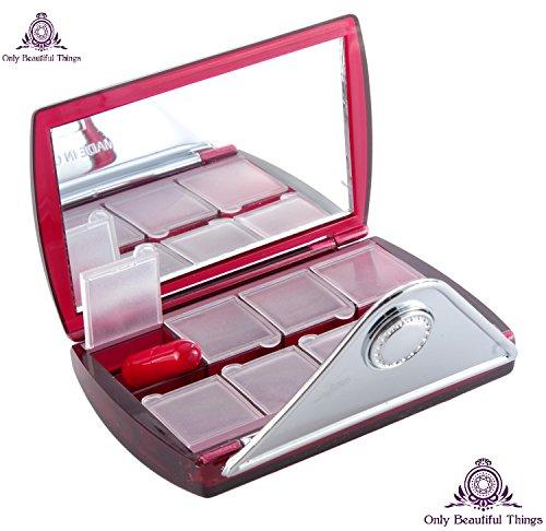 # 1 Best-vente - Petit Pill Box Organisateur avec miroir - décoratif Jolie Pill Box Organisateur Case - Parfait pour votre sac à main et Voyage - Transportez vos sept pilules Jour hebdomadaires AM PM Jour Nuit - Case pilule pour les femmes - Sleek Case De