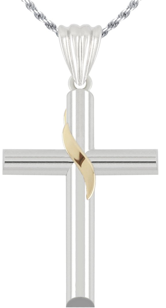 1 1/2in Solid 0.925 Sterling Silver & 14k Gold Ribbon Cross Pendant 3.0mm Figaro Necklace, 24''