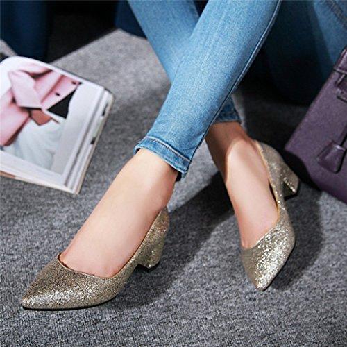 Or Paillettes Femmes À escarpins Peu Chaussures Printemps Talons Chaussures Talon Bouche Talon Moyen Épais pour Profonde 5HxZ6xa