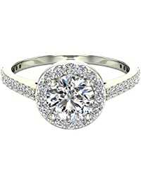 Round Brilliant Cut Diamond Dainty Halo Engagement Ring 1.15 carat total 14K Gold - GIA Certificate