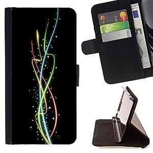 BullDog Case - FOR/Samsung Galaxy S4 Mini i9190 / - / Cool Color Neon Spires /- Monedero de cuero de la PU Llevar cubierta de la caja con el ID Credit Card Slots Flip funda de cuer