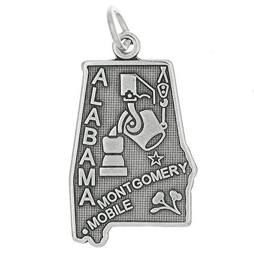 Sterling Silver Alabama State Charm (Sterling Silver Oxidized State of Alabama Charm)