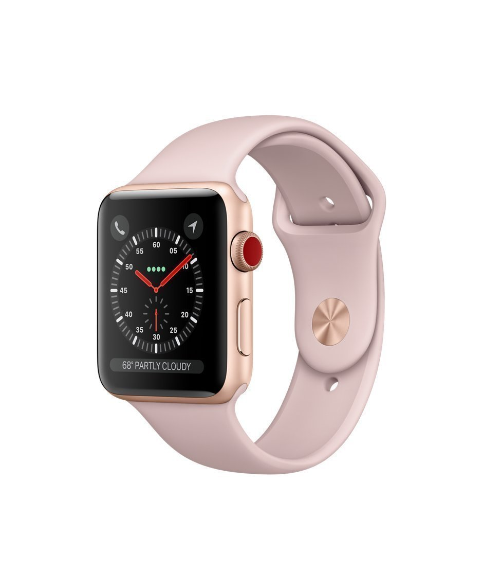 Apple watch series 3 Aluminum case Sport 38mm GPS + Cellular GSM unlocked (Gold Aluminum Case with Pink Sport Band)