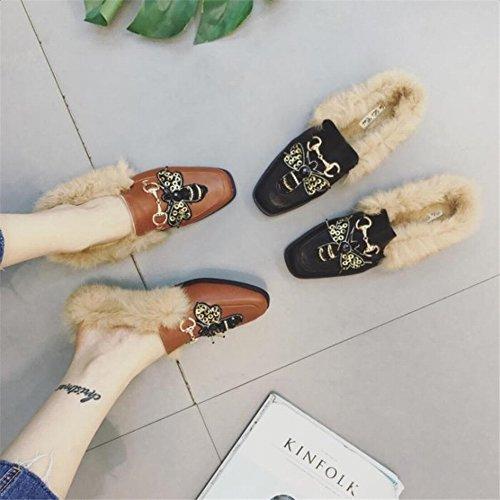 Zapatos Solos Del Fuselaje de la Mariposa Bordadas Botellas Planas Femeninas de la Cadena Del Metal Zapatos Perezosos de Las Mujeres , negro , EUR35