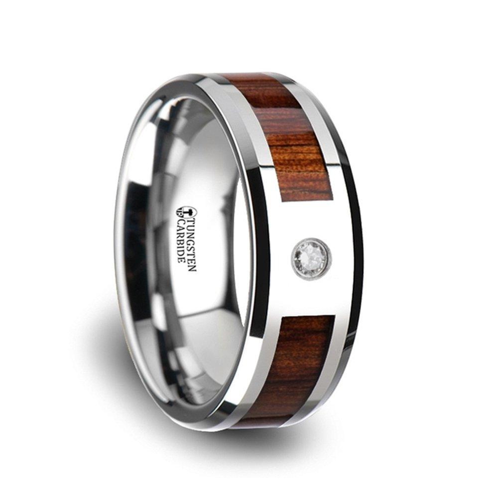KAHUNA Tungsten Carbide Beveled Edged Diamond Wedding Band With Koa Wood Inlay & Polished Edges - 8mm
