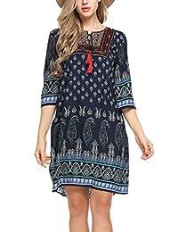 Meaneor Women 3/4 Sleeve Ethnic Style Printed Tassel Tie Loose Fit Boho Tunic Dress