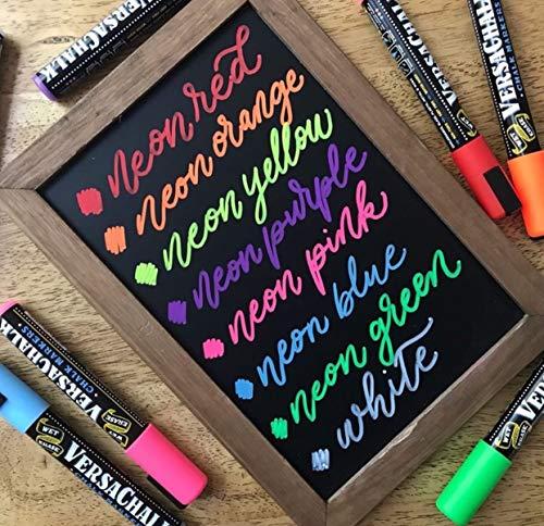 Neon Liquid Chalk Markers by VersaChalk - Wet Erase Chalk Ink Pens for Chalkboard Signs, Blackboard, Dry Erase Board (5mm Bold Reversible Tip)