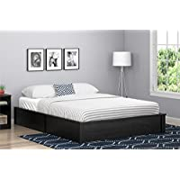 Ameriwood Home Queen Platform Bed Frame, Black Oak