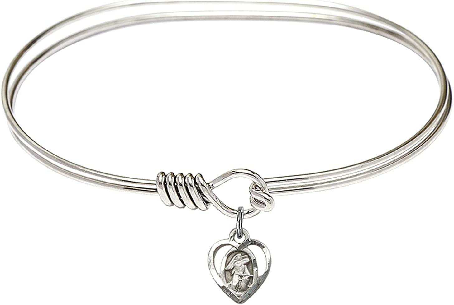 DiamondJewelryNY Eye Hook Bangle Bracelet with a Guardian Angel Charm.