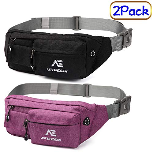 2 Pack Slim Soft Polyester Water and Scratch Resistant Waist Pack Crossbody Bag Fanny Packs for Outdoors Running Hiking Climbing Carrying Iphone 7 8 Plus Samsung S7 Powerbank