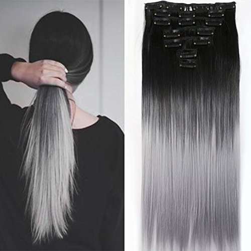 22 Inches Black Grey Syntheic Full Head Ombre Balayage Straight Clip in Hair Extensions Hairpieces DL