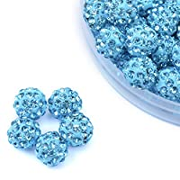 iCherry(TM) 10mm 100pcs/Lot Lake Blue Clay Pave Disco Ball for Rhinestone Crystal Shamballa Beads Charms Jewelry Makings