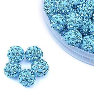 iCherry(TM) 10mm 100pcs/Lot Lake Blue Clay Pave Disco Ball for Rhinestone Crystal Shamballa Beads Charms Jewelry Makings