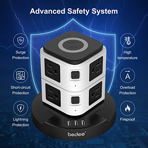 bedee Power Strip Tower Wireless Charger , 8 AC Outlets 3 USB Ports Desktop Charging Station Vertical Socket Surge Protector Tower with 10 ft Heavy Duty Extension Cord for Home Office