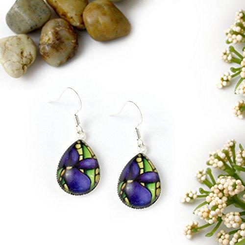 - Purple Iris Flower Glass Teardrop Earrings