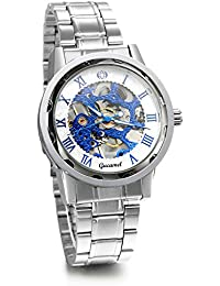 Gift for Him Skeleton Blue Dial Stainless Steel Band Hand-Wind Mechanical Mens Men Wrist Watch