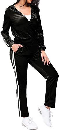 TrendyCosmo Sweatsuits for Women, 2 Piece Tracksuit Set Velvet Stripe Zipped Hooded Sweatshirts & Pants Sets