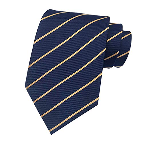 MENDENG New Mens Stripe Paisley 100% Silk Necktie Classic Striped Formal Ties (One Size, Navy and ()