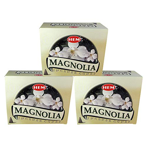 HEM Magnolia Pack of 3 Incense Cones Boxes, 10 Cones Each, Traditionally Handrolled in India, Best Natural Fragrance Perfect for Prayers, Meditation, Yoga, Relaxation, Peace, Positivity, Healing