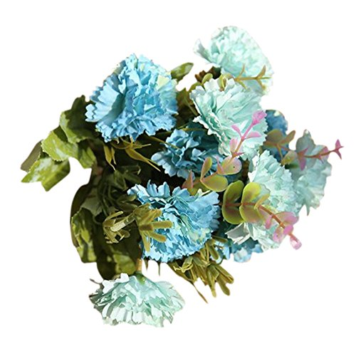 VEFSU Artificial Fake Flowers Carnations Silk Floral Wedding Bouquet Bridal Hydrangea Home Decor (Blue) ()