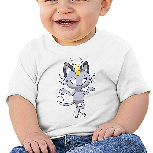 MWHprint Short Sleeved Undershirt - White Cotton Tee for Boys and Girls,Meowth Alola,18M