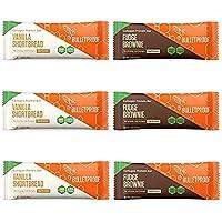 Barras de proteína de colágeno a prueba de balas, paquete de 6, variedad, 3 brownie de nudo, 3 pan corto de vainilla