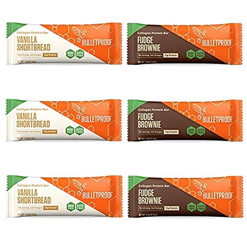 Bulletproof Collagen Protein Bars 6 Pack, Variety, 3 Fudge Brownie, 3 Vanilla Shortbread