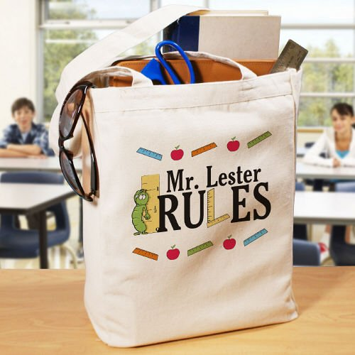 My Teacher Rules Personalized Canvas Tote Bag,16
