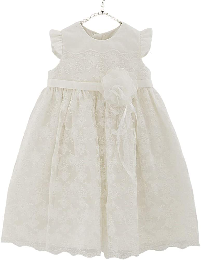 Petite JR Set of 2 DRL05 Baby Girl White Long Dress and Bonnet Baptism Gown Ceremony Ware