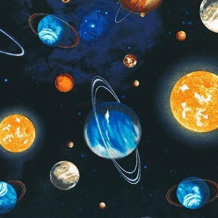 Robert Kaufman Fabric Stargazers Planets Black HALF METRE